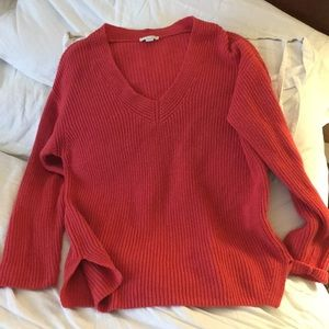 J Jill Coral knit popover sweater top Small
